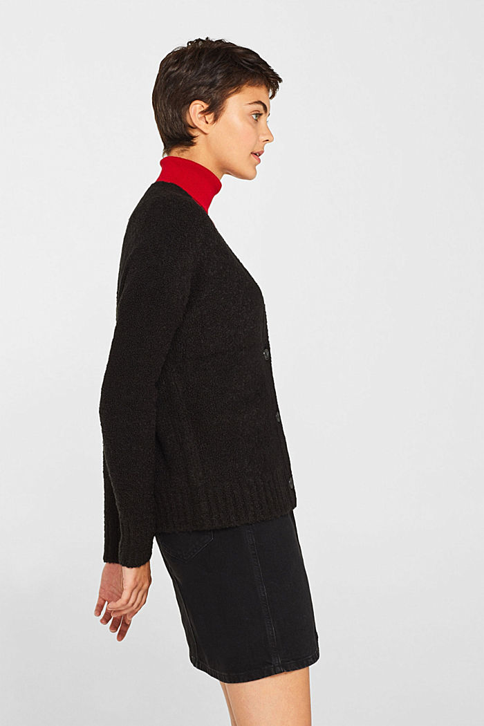 Made of blended wool: Bouclé cardigan with a V-neckline, BLACK, detail image number 5