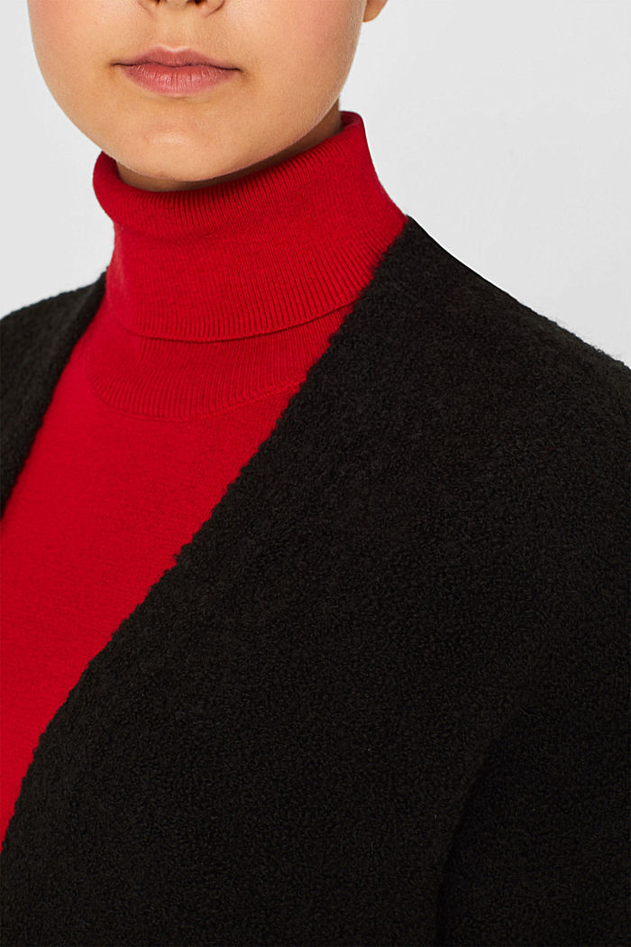 Made of blended wool: Bouclé cardigan with a V-neckline, BLACK, detail image number 2