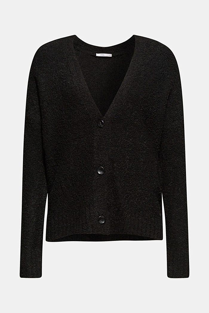 Made of blended wool: Bouclé cardigan with a V-neckline, BLACK, detail image number 7