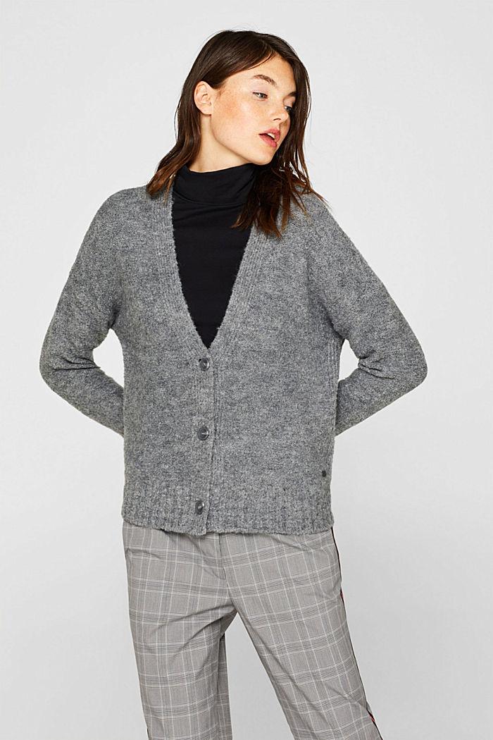 Made of blended wool: Bouclé cardigan with a V-neckline, GUNMETAL, detail image number 0