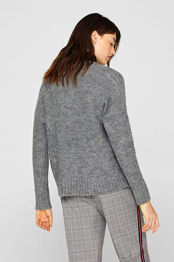 Made of blended wool: Bouclé cardigan with a V-neckline, GUNMETAL, detail image number 3