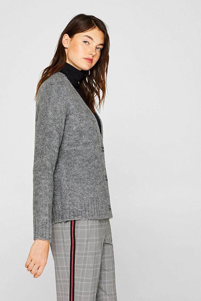 Made of blended wool: Bouclé cardigan with a V-neckline, GUNMETAL, detail image number 5