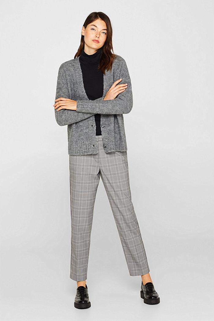 Made of blended wool: Bouclé cardigan with a V-neckline, GUNMETAL, detail image number 1