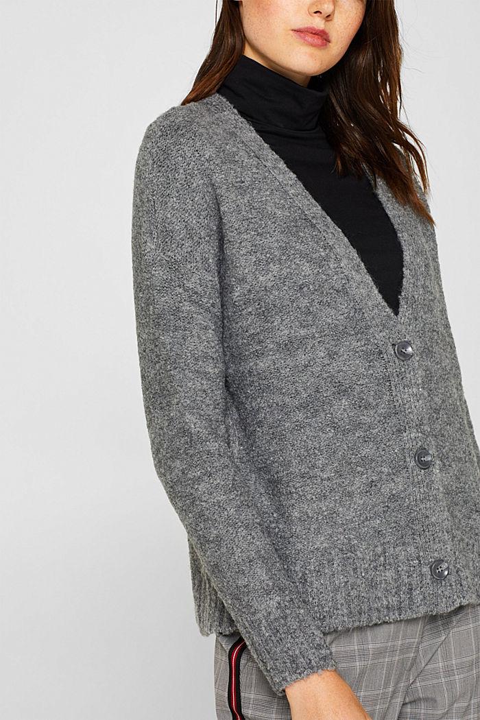 Made of blended wool: Bouclé cardigan with a V-neckline, GUNMETAL, detail image number 2