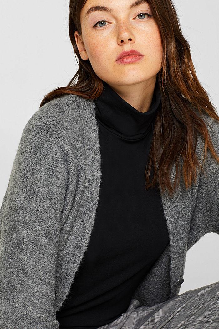 Made of blended wool: Bouclé cardigan with a V-neckline, GUNMETAL, detail image number 6