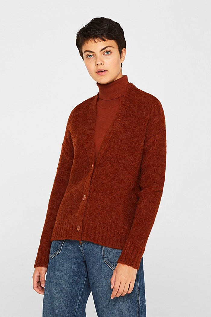 Made of blended wool: Bouclé cardigan with a V-neckline, RUST BROWN, detail image number 0
