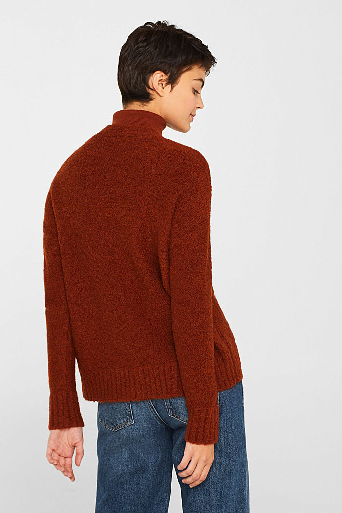 Made of blended wool: Bouclé cardigan with a V-neckline, RUST BROWN, detail image number 3