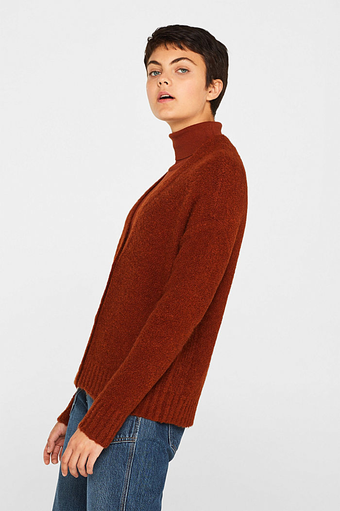 Made of blended wool: Bouclé cardigan with a V-neckline, RUST BROWN, detail image number 5