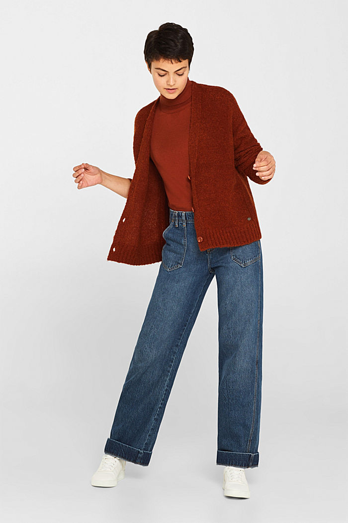 Made of blended wool: Bouclé cardigan with a V-neckline, RUST BROWN, detail image number 1