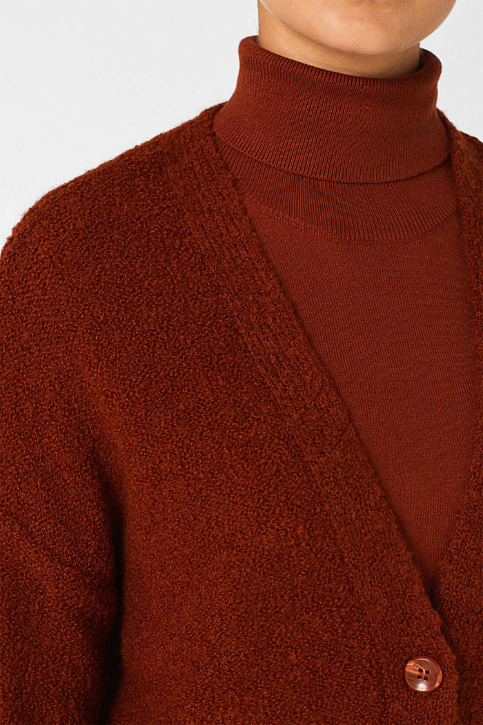 Made of blended wool: Bouclé cardigan with a V-neckline, RUST BROWN, detail image number 2