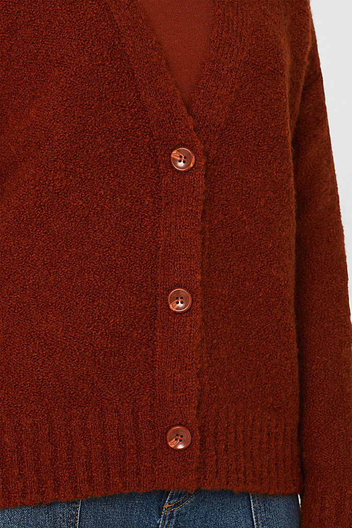 Made of blended wool: Bouclé cardigan with a V-neckline, RUST BROWN, detail image number 4