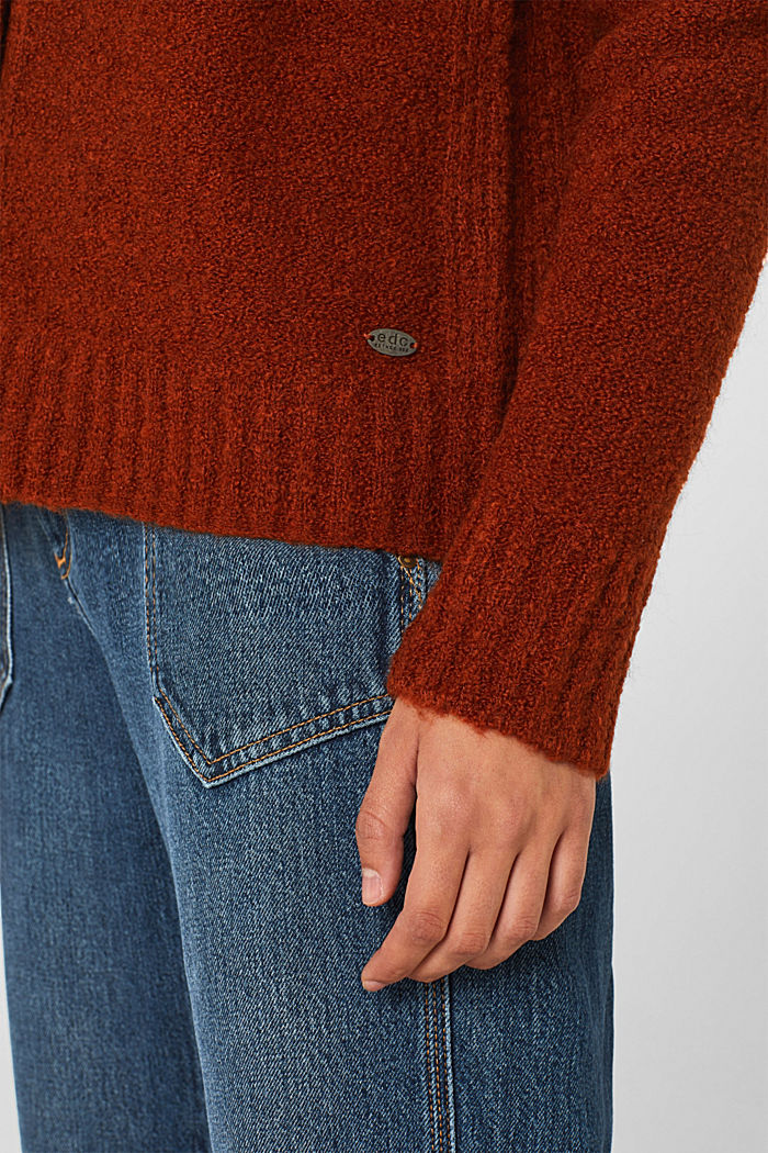 Made of blended wool: Bouclé cardigan with a V-neckline, RUST BROWN, detail image number 6