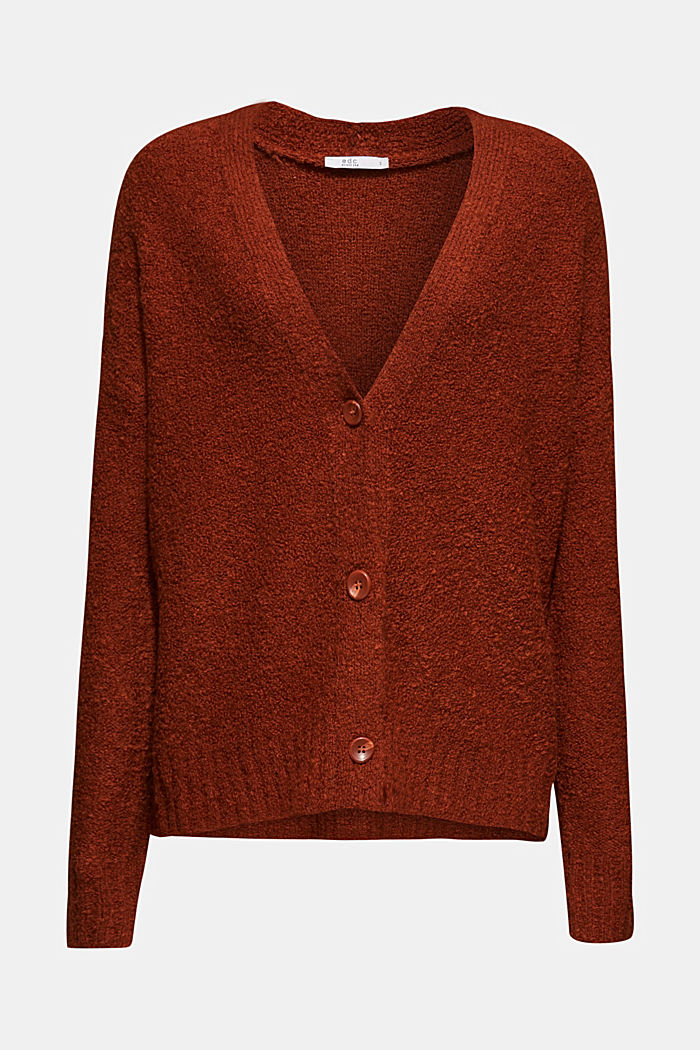 Made of blended wool: Bouclé cardigan with a V-neckline, RUST BROWN, detail image number 8
