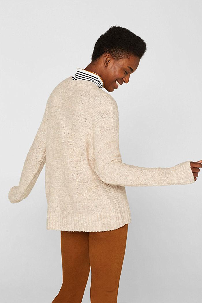 Made of blended wool: Bouclé cardigan with a V-neckline, BEIGE, detail image number 3