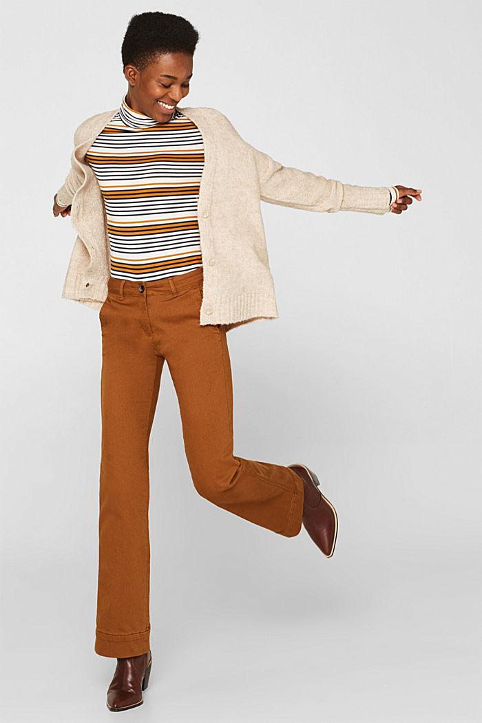 Made of blended wool: Bouclé cardigan with a V-neckline, BEIGE, detail image number 5