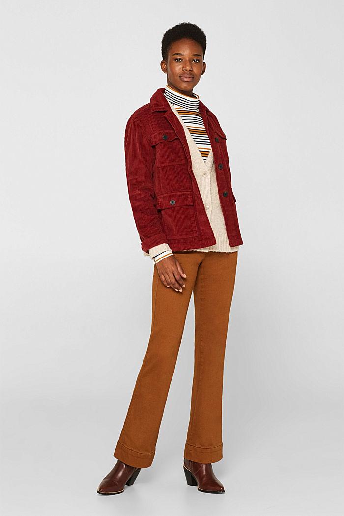 Made of blended wool: Bouclé cardigan with a V-neckline, BEIGE, detail image number 1