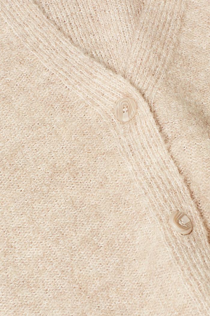 Made of blended wool: Bouclé cardigan with a V-neckline, BEIGE, detail image number 4