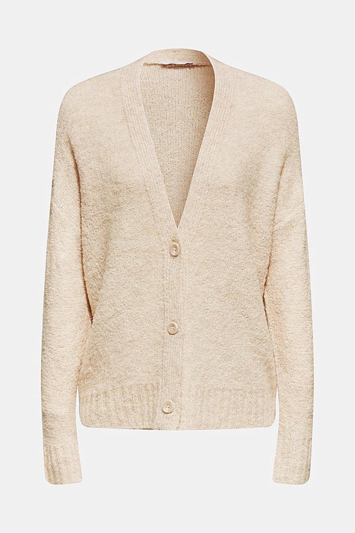 Made of blended wool: Bouclé cardigan with a V-neckline, BEIGE, detail image number 0
