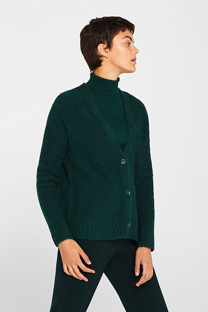 Made of blended wool: Bouclé cardigan with a V-neckline, BOTTLE GREEN, detail image number 0