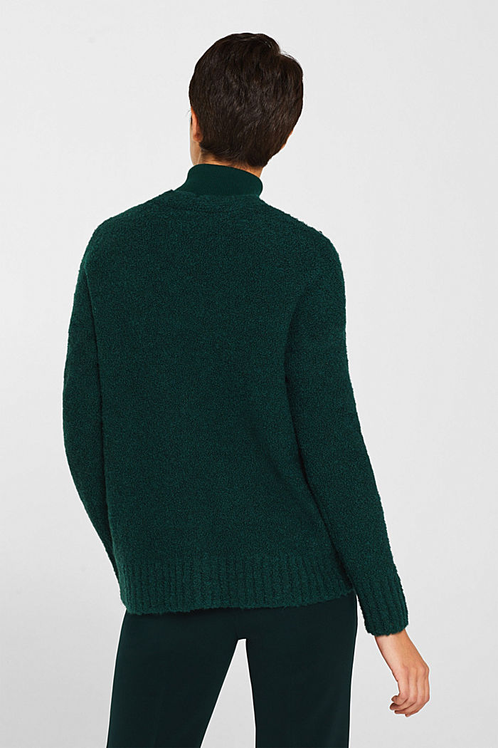 Made of blended wool: Bouclé cardigan with a V-neckline, BOTTLE GREEN, detail image number 3