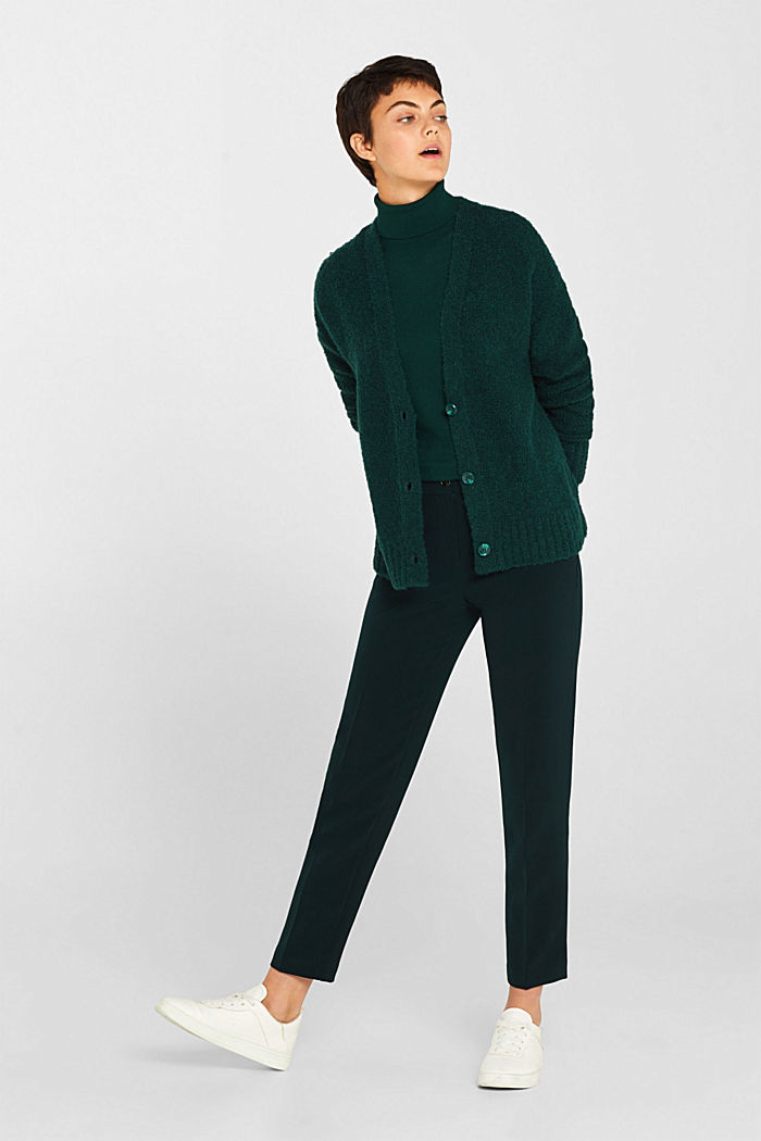 Made of blended wool: Bouclé cardigan with a V-neckline, BOTTLE GREEN, detail image number 1