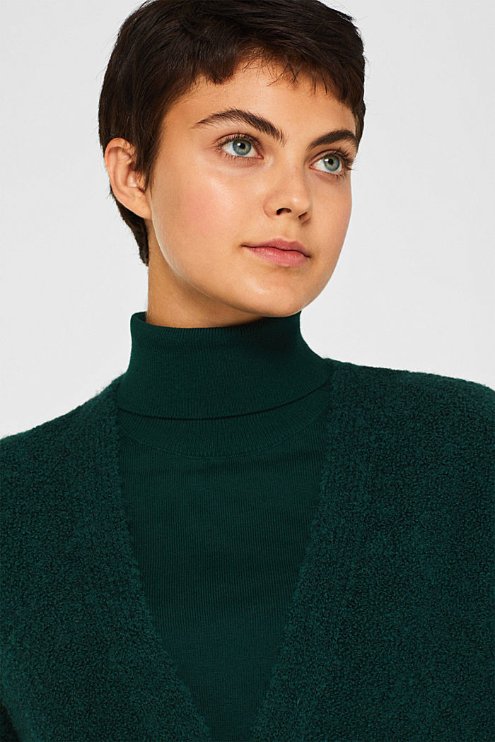 Made of blended wool: Bouclé cardigan with a V-neckline, BOTTLE GREEN, detail image number 5