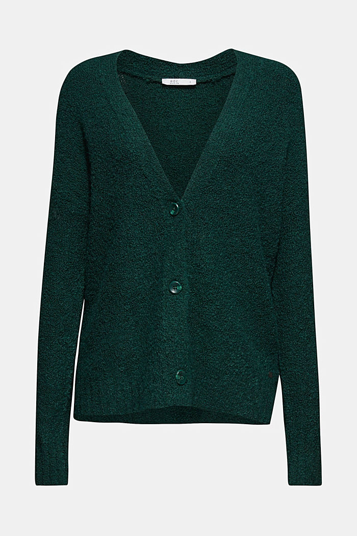 Made of blended wool: Bouclé cardigan with a V-neckline, BOTTLE GREEN, detail image number 6