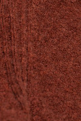 Made of blended wool: Bouclé polo neck jumper, RUST BROWN 5, detail