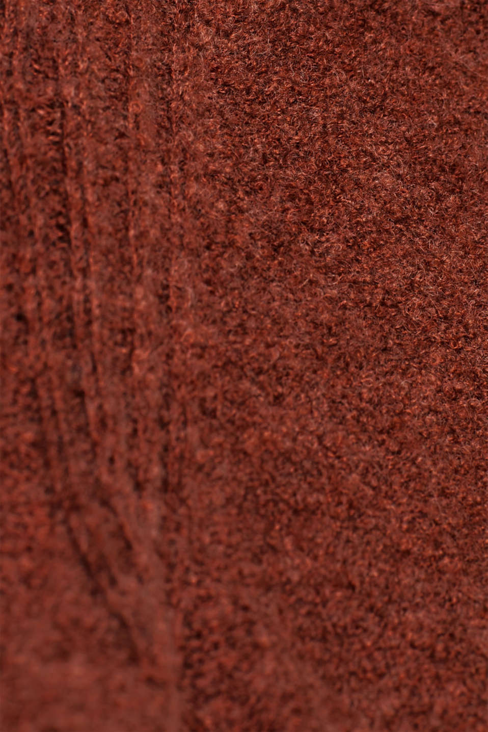 Made of blended wool: Bouclé polo neck jumper, RUST BROWN 5, detail image number 4