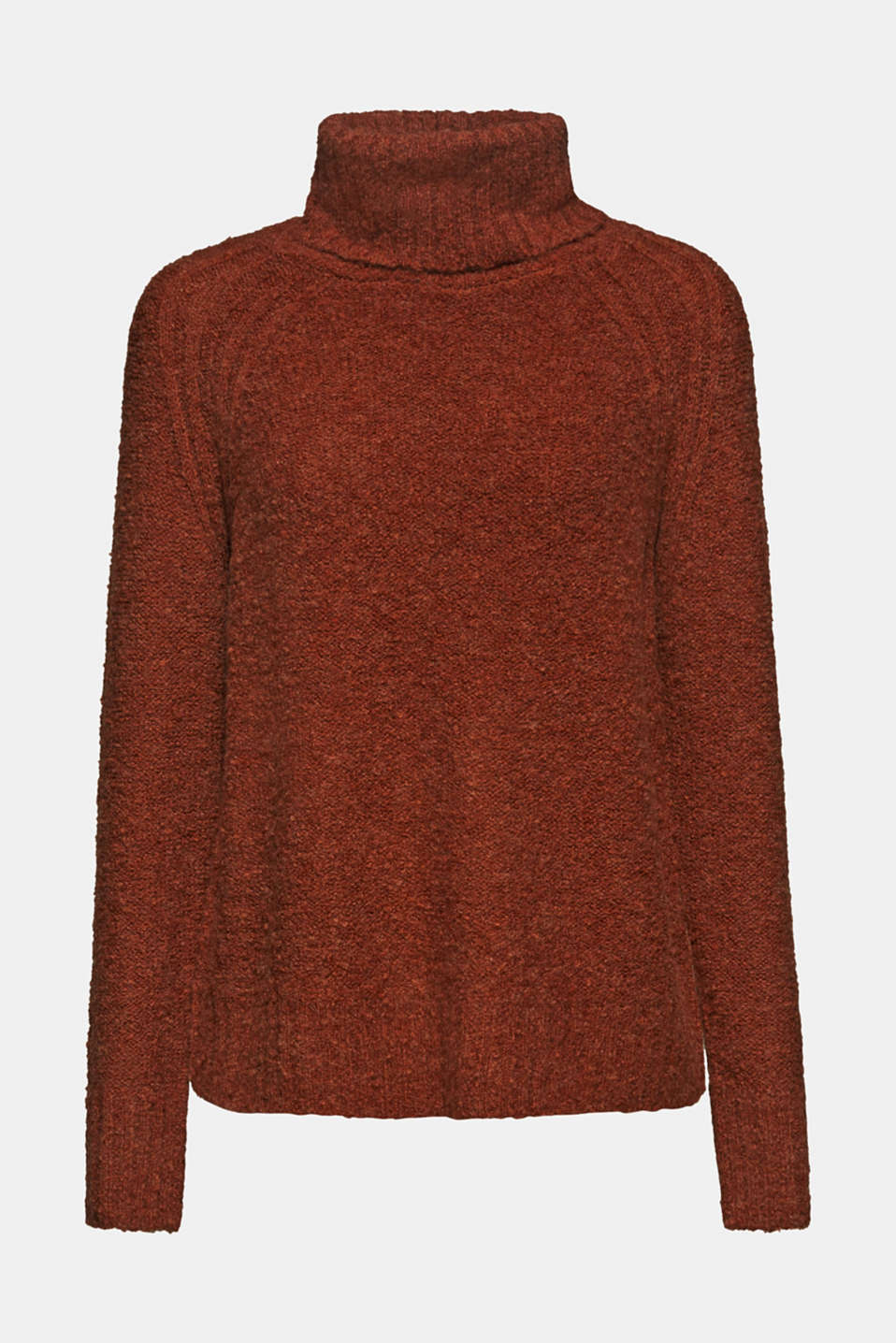 Made of blended wool: Bouclé polo neck jumper, RUST BROWN 5, detail image number 6