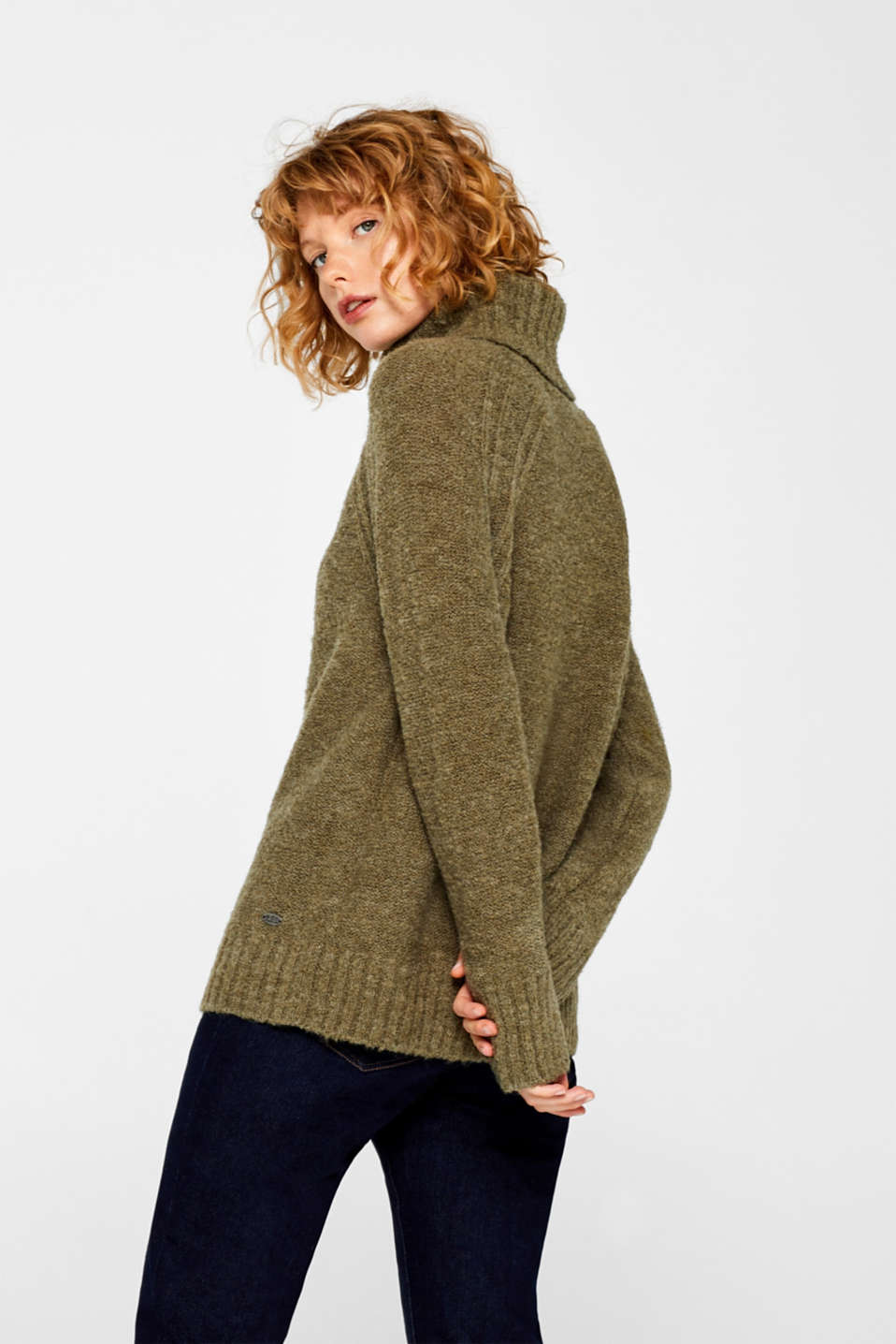 Made of blended wool: Bouclé polo neck jumper, KHAKI GREEN, detail image number 3