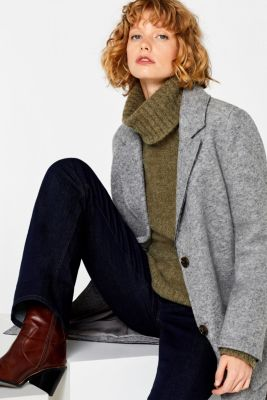 Made of blended wool: Bouclé polo neck jumper, KHAKI GREEN, detail