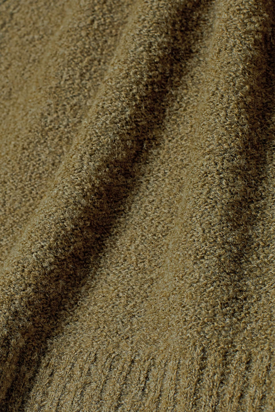 Made of blended wool: Bouclé polo neck jumper, KHAKI GREEN, detail image number 4