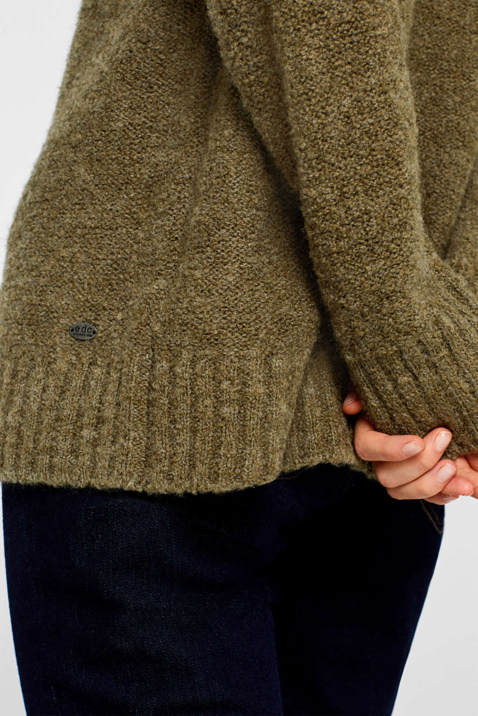 Made of blended wool: Bouclé polo neck jumper, KHAKI GREEN, detail image number 5