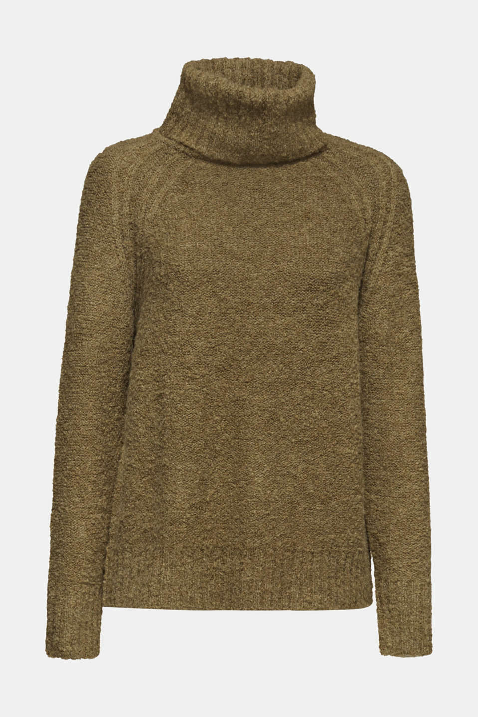 Made of blended wool: Bouclé polo neck jumper, KHAKI GREEN, detail image number 8