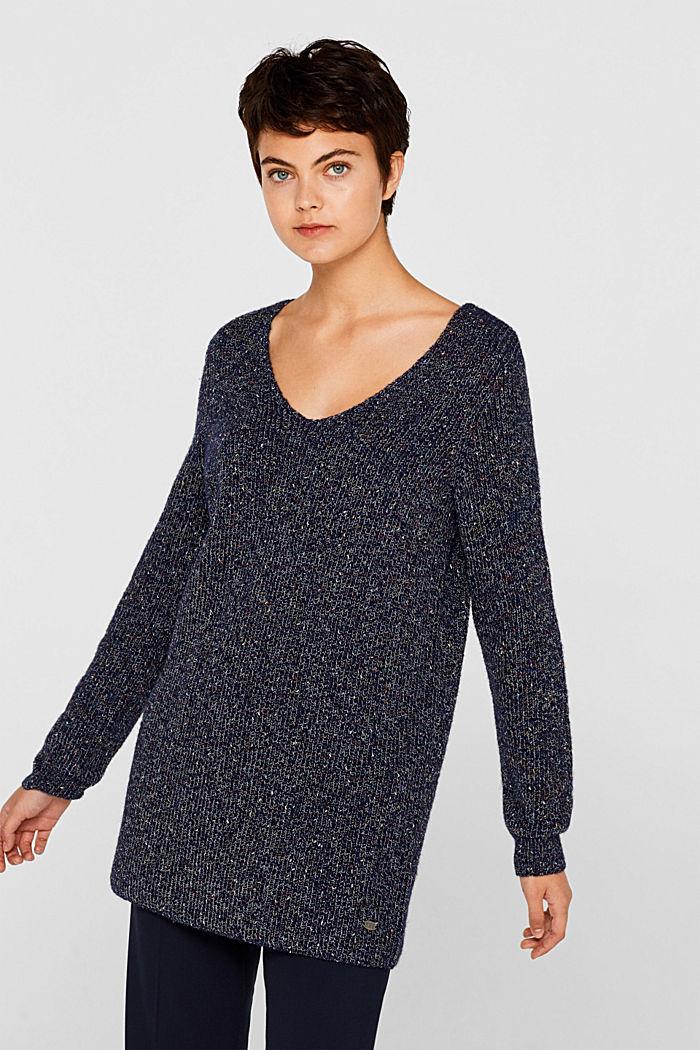 Blended wool: long melange jumper, NAVY, detail image number 0