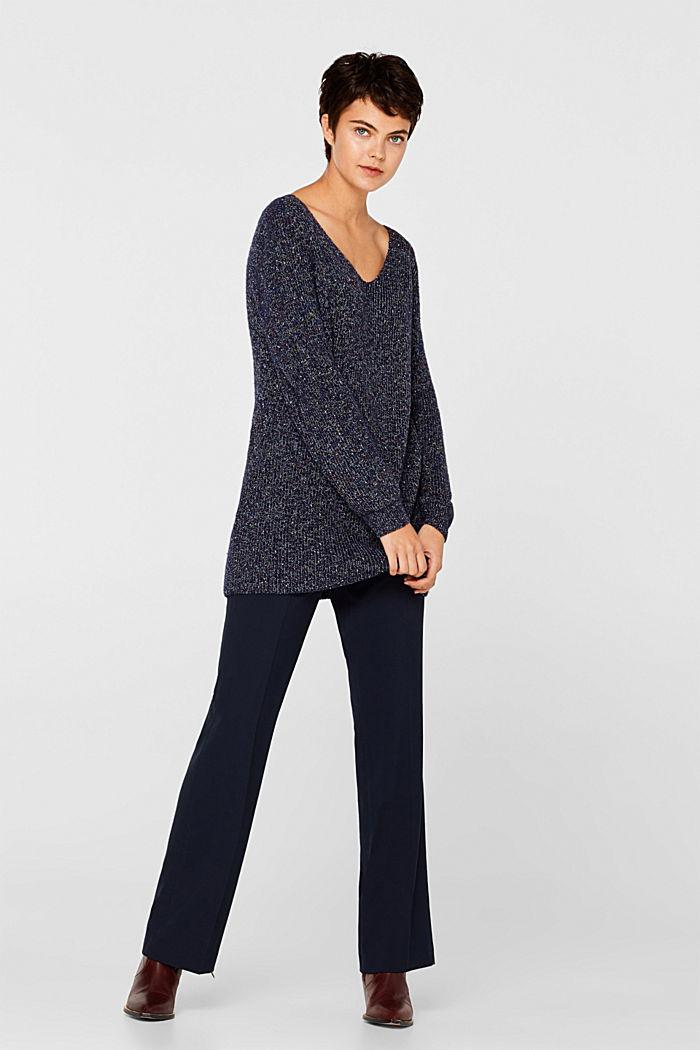 Blended wool: long melange jumper, NAVY, detail image number 1