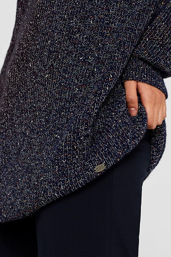 Blended wool: long melange jumper, NAVY, detail image number 2