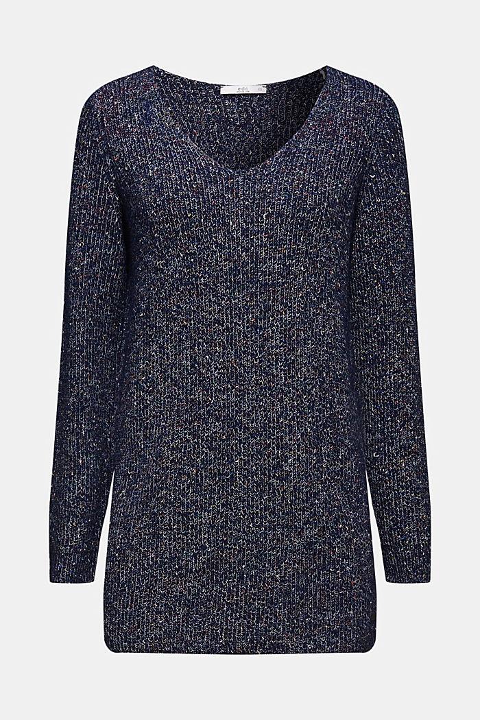Blended wool: long melange jumper, NAVY, detail image number 5