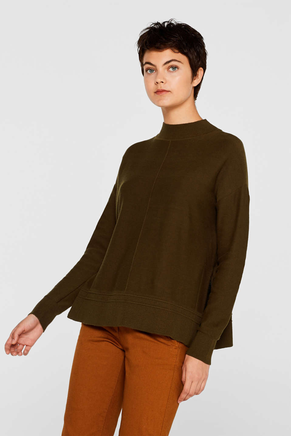 edc - Turtleneck jumper with logo intarsia