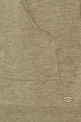Slub cardigan with a hood, 100% cotton, KHAKI GREEN, detail