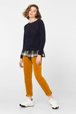 Sweatshirt with a fabric hem, 100% cotton, NAVY, detail