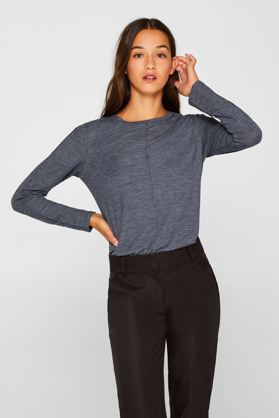 edc - Seidiges Longsleeve mit Inside-Out-Naht