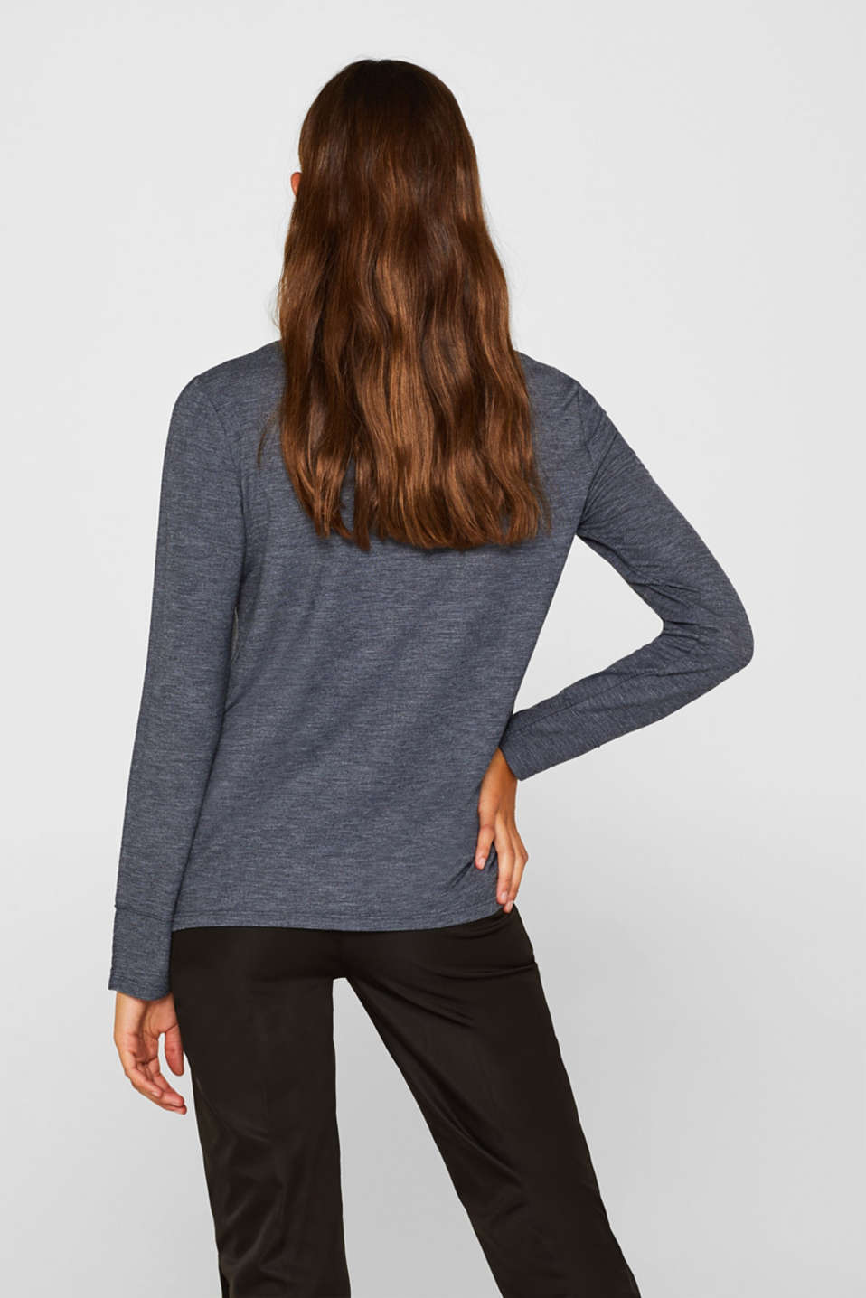 Silky long sleeve top with an inside-out seam, NAVY, detail image number 3