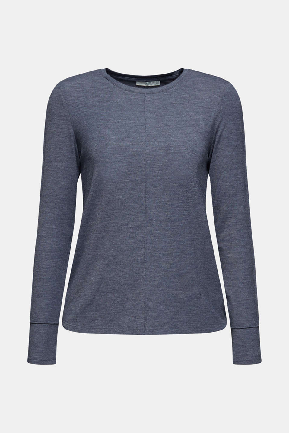 Silky long sleeve top with an inside-out seam, NAVY, detail image number 6