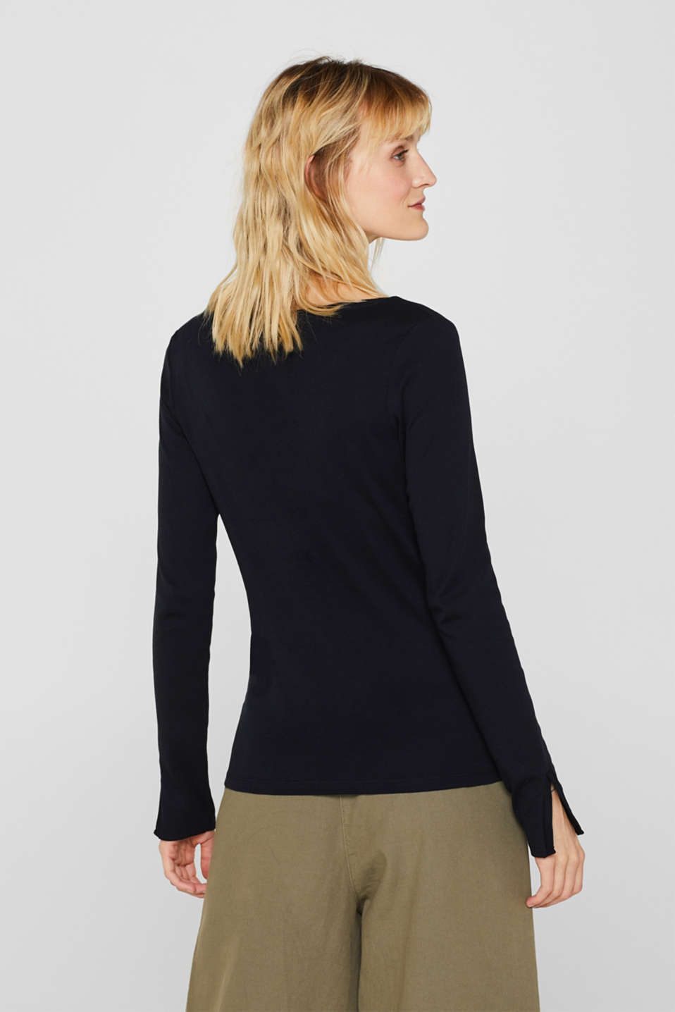 Long sleeve top in a wrap-over effect, BLACK, detail image number 3