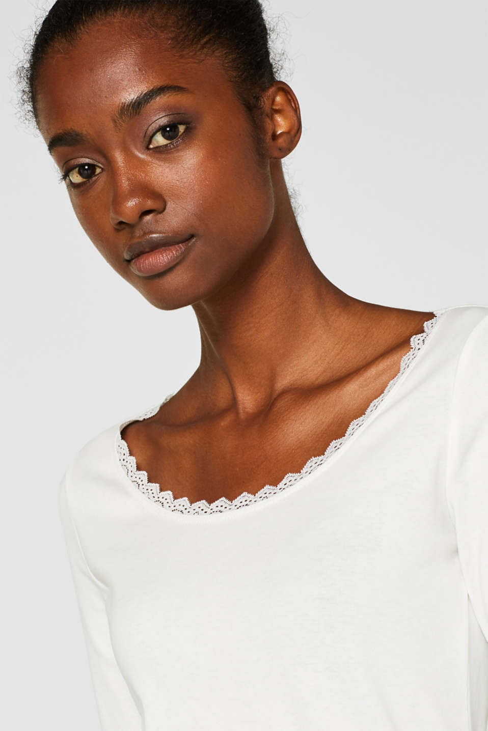 Long sleeve top with lace, 100% cotton, OFF WHITE, detail image number 6