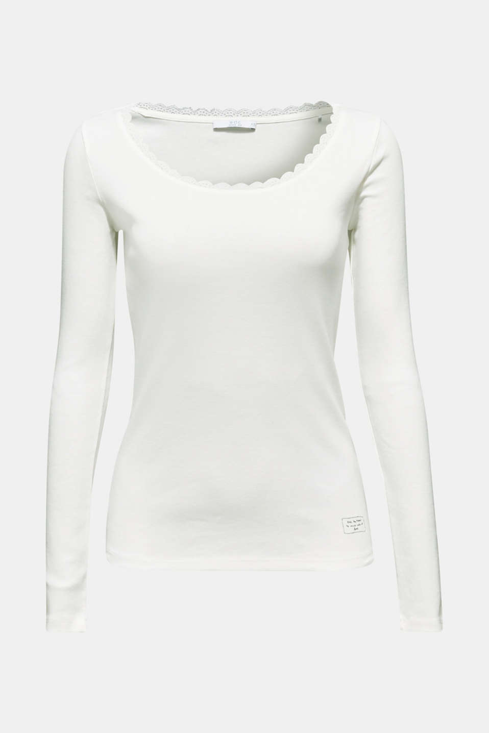 Long sleeve top with lace, 100% cotton, OFF WHITE, detail image number 7