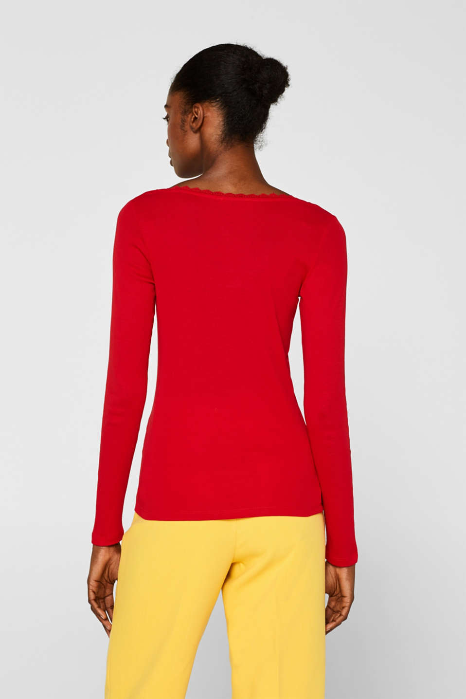 Long sleeve top with lace, 100% cotton, RED 4, detail image number 3