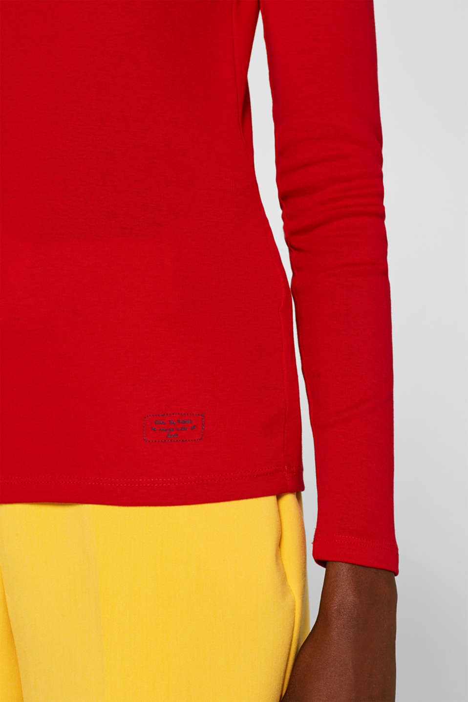 Long sleeve top with lace, 100% cotton, RED 4, detail image number 2